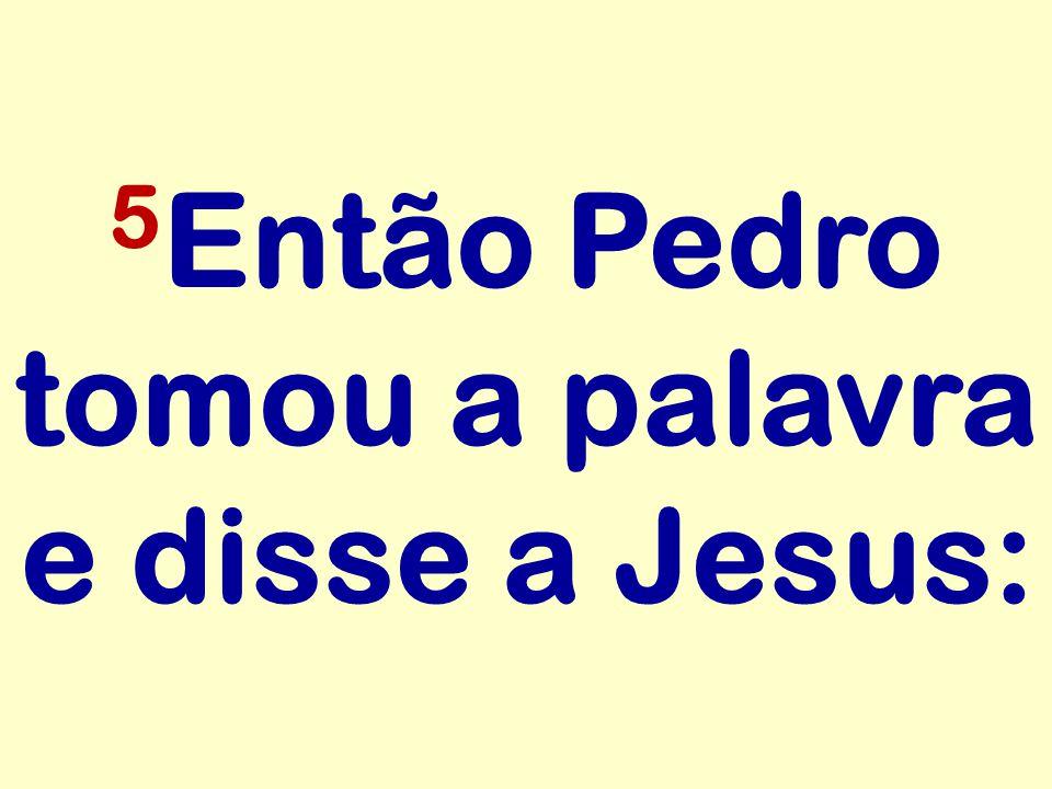 5 Então Pedro tomou a palavra e disse a Jesus: