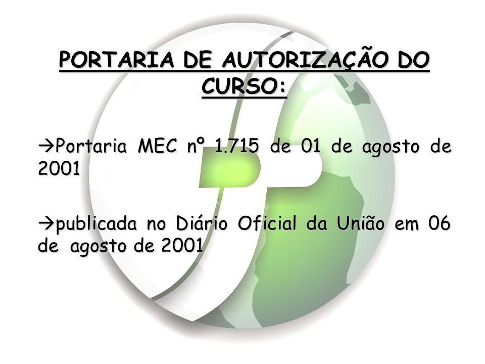 PORTARIA DE AUTORIZAÇÃO DO CURSO:  Portaria MEC nº 1.715 de 01 de agosto de 2001  publicada no Diário Oficial da União em 06 de agosto de 2001