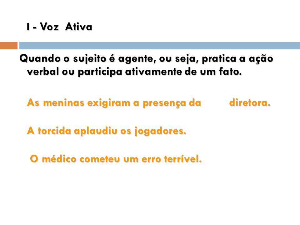 I - Voz Ativa Quando o sujeito é agente, ou seja, pratica a ação verbal ou participa ativamente de um fato. Quando o sujeito é agente, ou seja, pratic