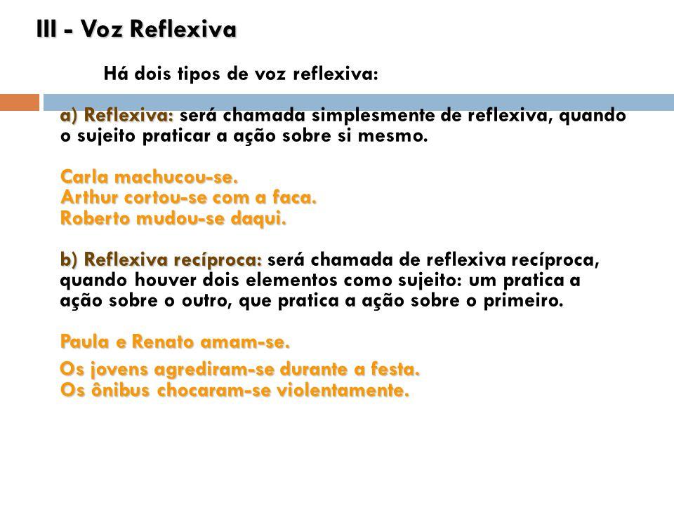 III - Voz Reflexiva a) Reflexiva: Carla machucou-se. Arthur cortou-se com a faca. Roberto mudou-se daqui. b) Reflexiva recíproca: Paula e Renato amam-