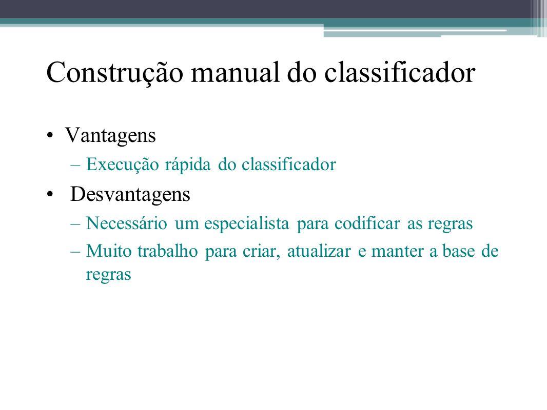 Construção manual do classificador •Vantagens –Execução rápida do classificador • Desvantagens –Necessário um especialista para codificar as regras –M
