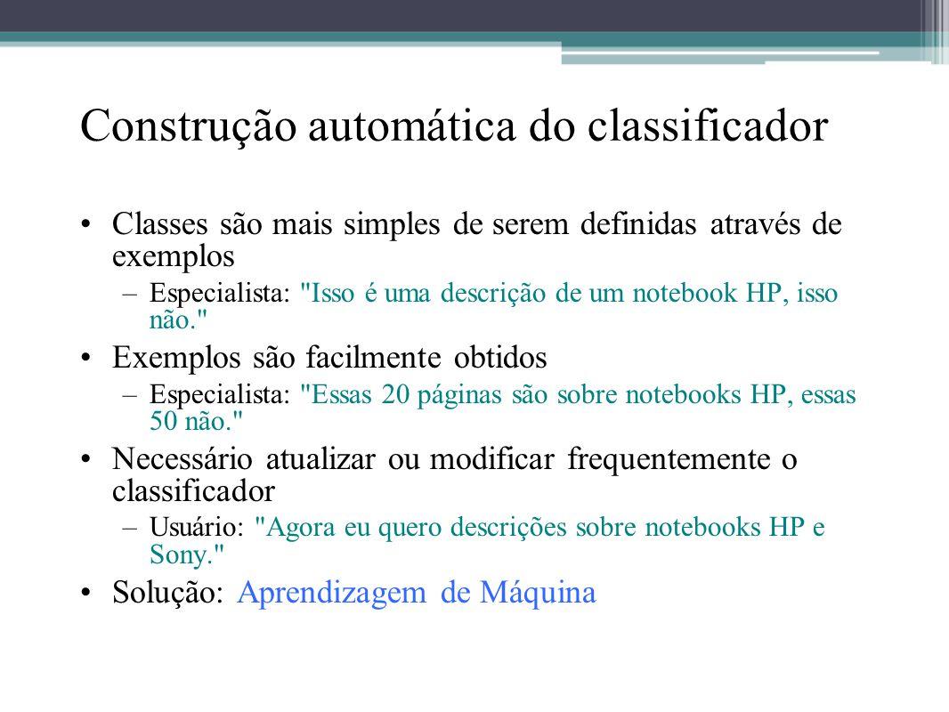 Construção automática do classificador •Classes são mais simples de serem definidas através de exemplos –Especialista: