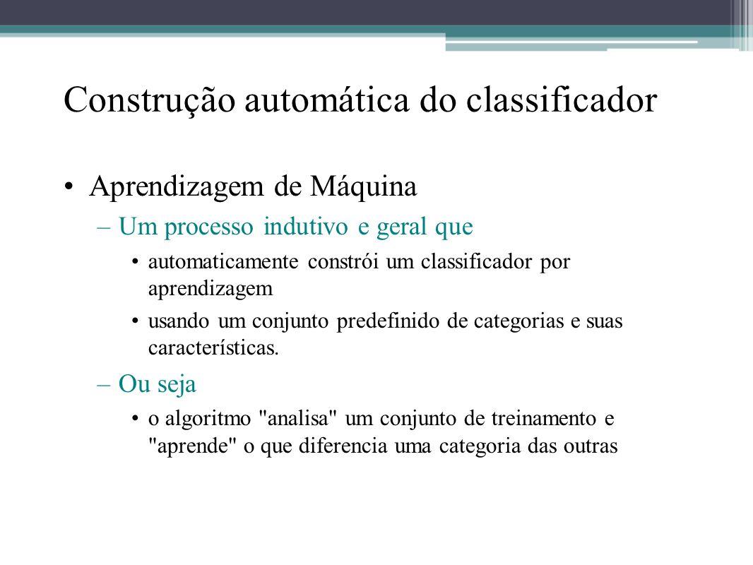 Construção automática do classificador •Aprendizagem de Máquina –Um processo indutivo e geral que •automaticamente constrói um classificador por apren