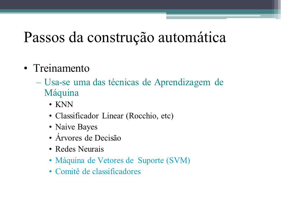 Passos da construção automática •Treinamento –Usa-se uma das técnicas de Aprendizagem de Máquina •KNN •Classificador Linear (Rocchio, etc) •Naive Baye