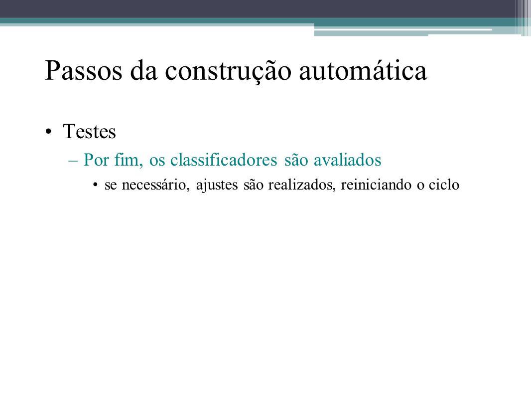 Passos da construção automática •Testes –Por fim, os classificadores são avaliados •se necessário, ajustes são realizados, reiniciando o ciclo