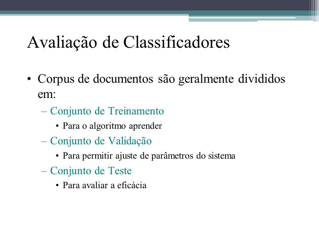 Avaliação de Classificadores •Corpus de documentos são geralmente divididos em: –Conjunto de Treinamento •Para o algoritmo aprender –Conjunto de Valid