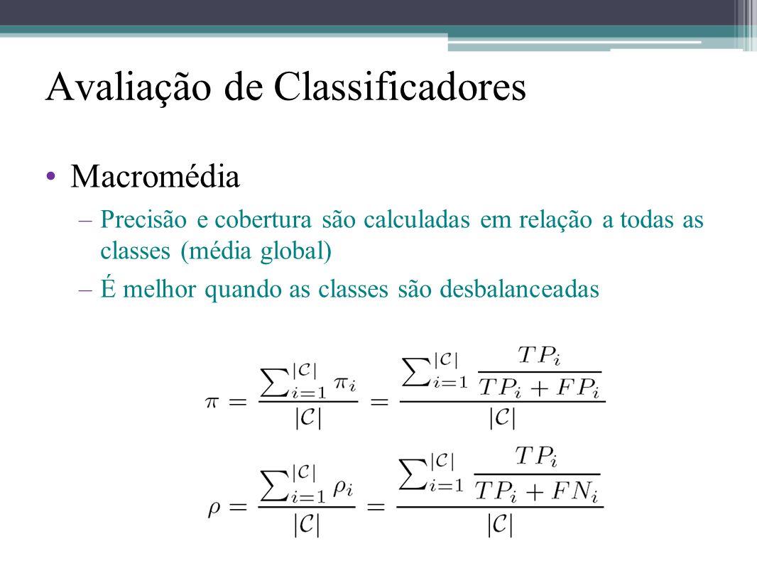 •Macromédia –Precisão e cobertura são calculadas em relação a todas as classes (média global) –É melhor quando as classes são desbalanceadas Avaliação