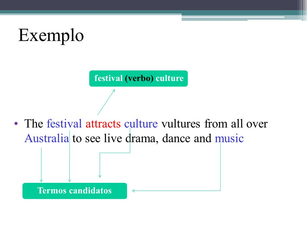 Exemplo •The festival attracts culture vultures from all over Australia to see live drama, dance and music Termos candidatos festival (verbo) culture