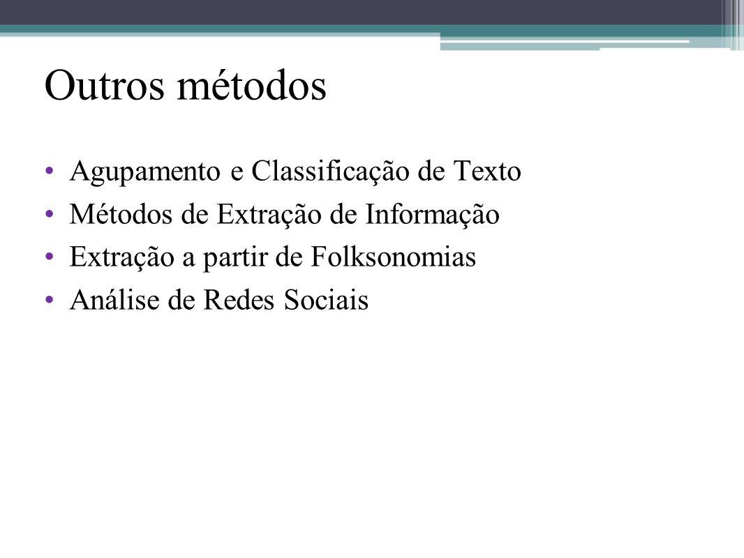 Outros métodos •Agupamento e Classificação de Texto •Métodos de Extração de Informação •Extração a partir de Folksonomias •Análise de Redes Sociais