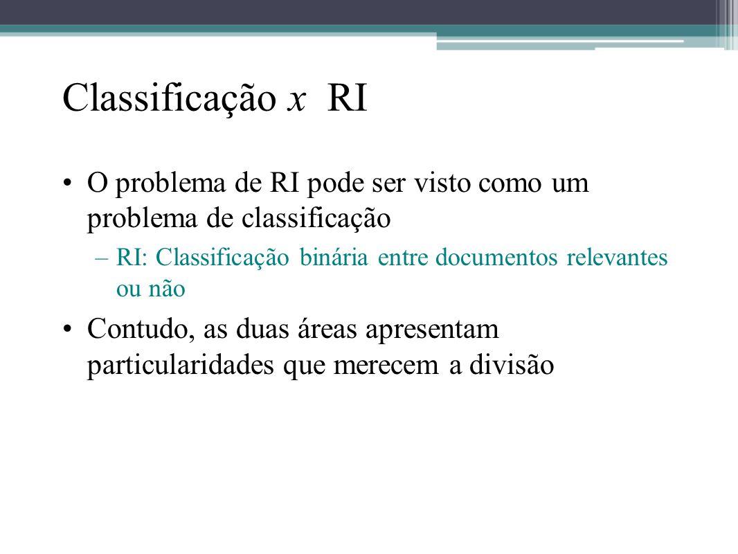Classificação x RI •O problema de RI pode ser visto como um problema de classificação –RI: Classificação binária entre documentos relevantes ou não •C