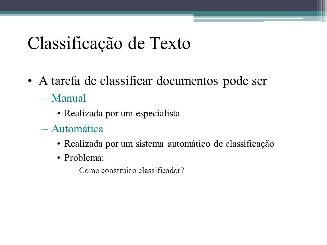 Construção automática do classificador •Aprendizagem de Máquina –Um processo indutivo e geral que •automaticamente constrói um classificador por aprendizagem •usando um conjunto predefinido de categorias e suas características.