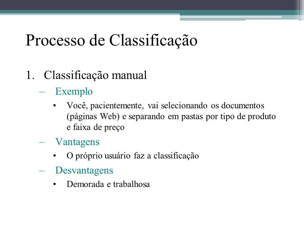 Processo de Classificação 1.Classificação manual –Exemplo •Você, pacientemente, vai selecionando os documentos (páginas Web) e separando em pastas por