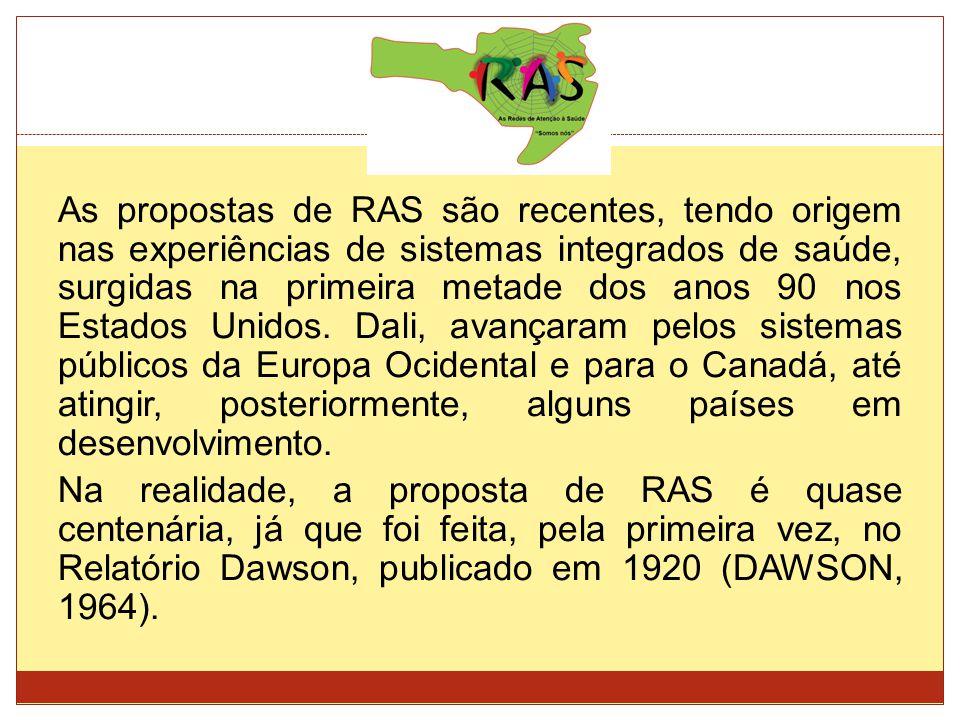 As propostas de RAS são recentes, tendo origem nas experiências de sistemas integrados de saúde, surgidas na primeira metade dos anos 90 nos Estados U