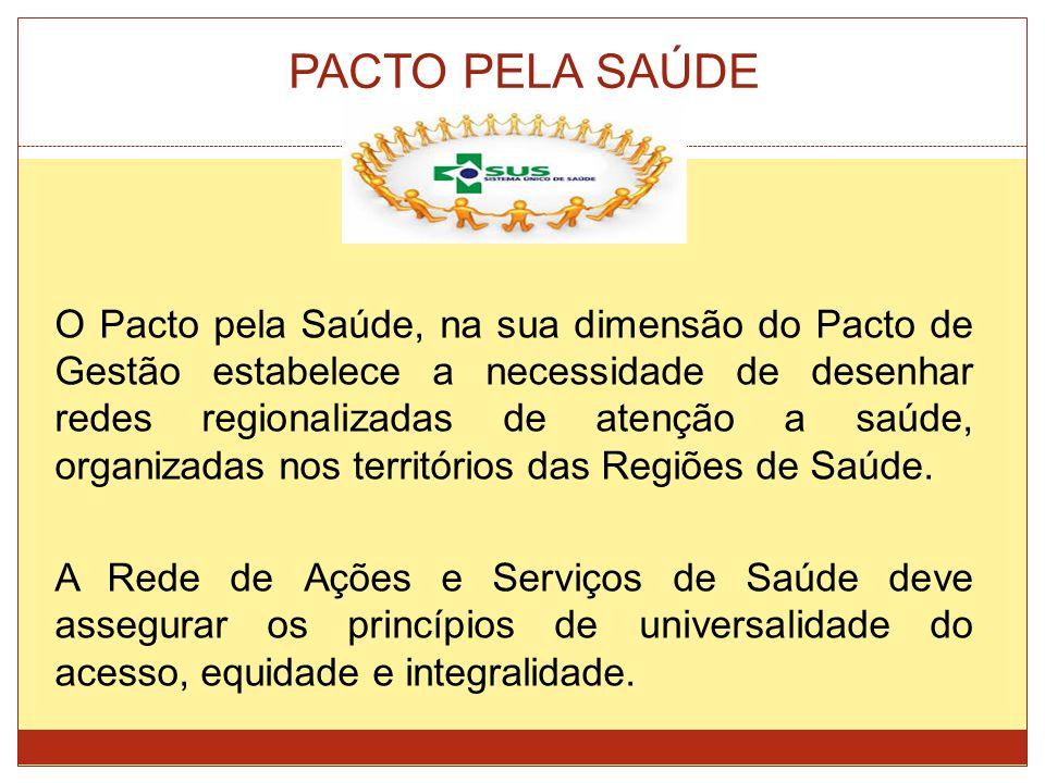 PACTO PELA SAÚDE O Pacto pela Saúde, na sua dimensão do Pacto de Gestão estabelece a necessidade de desenhar redes regionalizadas de atenção a saúde,