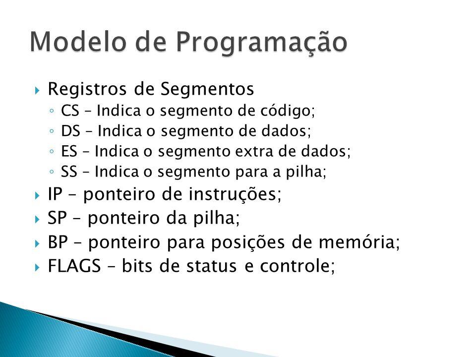 Registros de Segmentos ◦ CS – Indica o segmento de código; ◦ DS – Indica o segmento de dados; ◦ ES – Indica o segmento extra de dados; ◦ SS – Indica