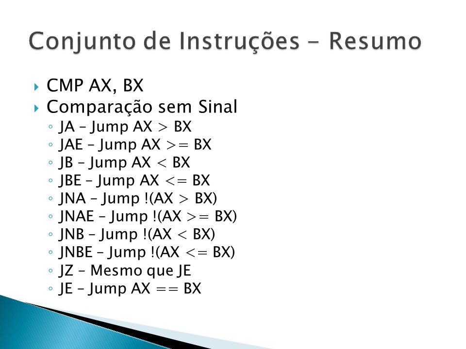  CMP AX, BX  Comparação sem Sinal ◦ JA – Jump AX > BX ◦ JAE – Jump AX >= BX ◦ JB – Jump AX < BX ◦ JBE – Jump AX <= BX ◦ JNA – Jump !(AX > BX) ◦ JNAE