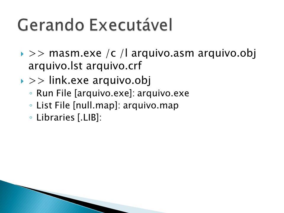  >> masm.exe /c /l arquivo.asm arquivo.obj arquivo.lst arquivo.crf  >> link.exe arquivo.obj ◦ Run File [arquivo.exe]: arquivo.exe ◦ List File [null.