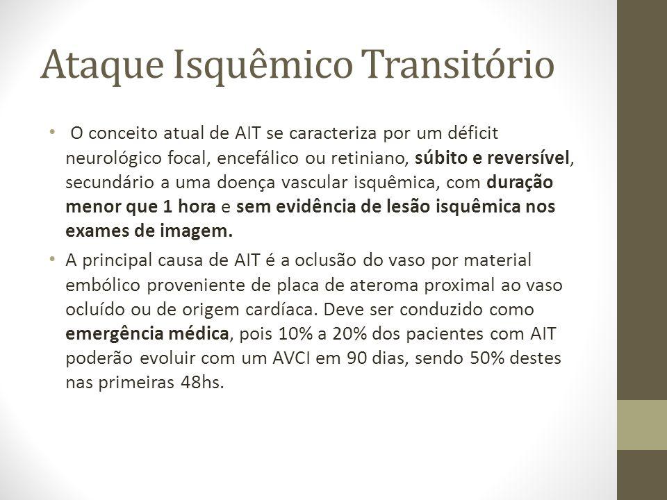 Ataque Isquêmico Transitório • O conceito atual de AIT se caracteriza por um déficit neurológico focal, encefálico ou retiniano, súbito e reversível,