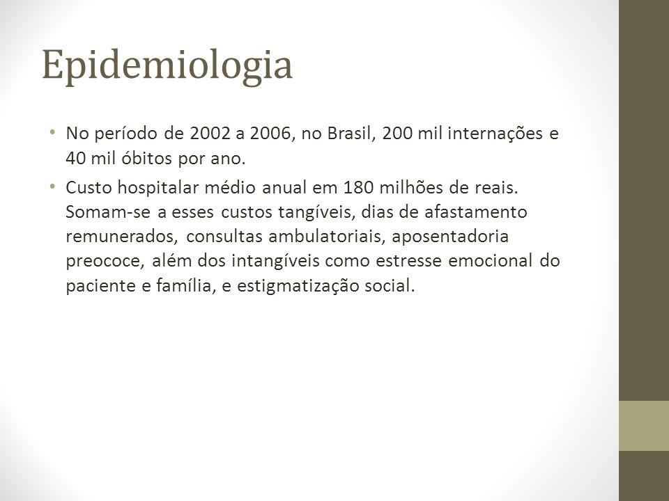 Epidemiologia • No período de 2002 a 2006, no Brasil, 200 mil internações e 40 mil óbitos por ano. • Custo hospitalar médio anual em 180 milhões de re