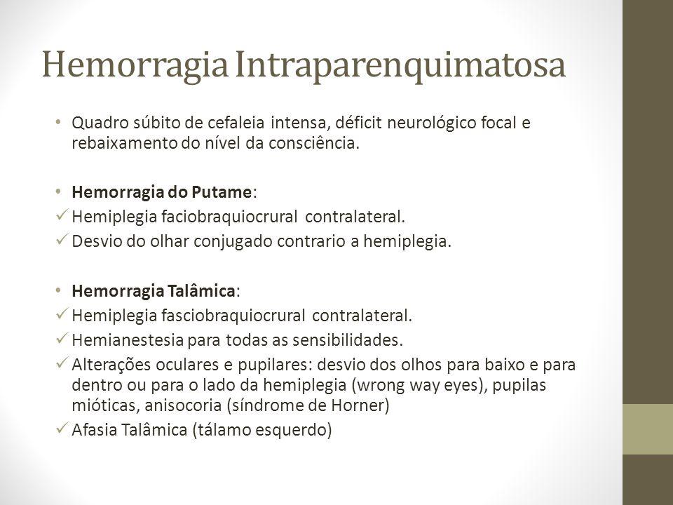 Hemorragia Intraparenquimatosa • Quadro súbito de cefaleia intensa, déficit neurológico focal e rebaixamento do nível da consciência. • Hemorragia do