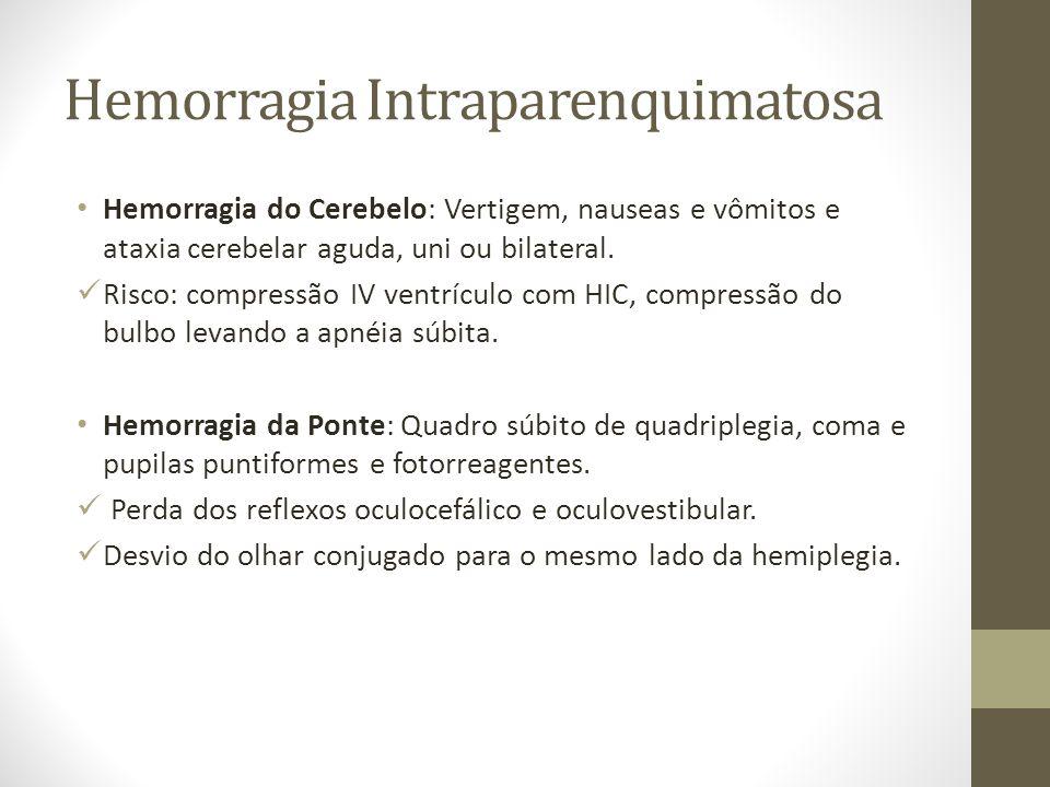 Hemorragia Intraparenquimatosa • Hemorragia do Cerebelo: Vertigem, nauseas e vômitos e ataxia cerebelar aguda, uni ou bilateral.  Risco: compressão I