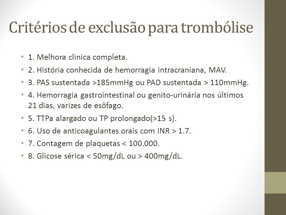 Critérios de exclusão para trombólise • 1. Melhora clinica completa. • 2. História conhecida de hemorragia intracraniana, MAV. • 3. PAS sustentada >18