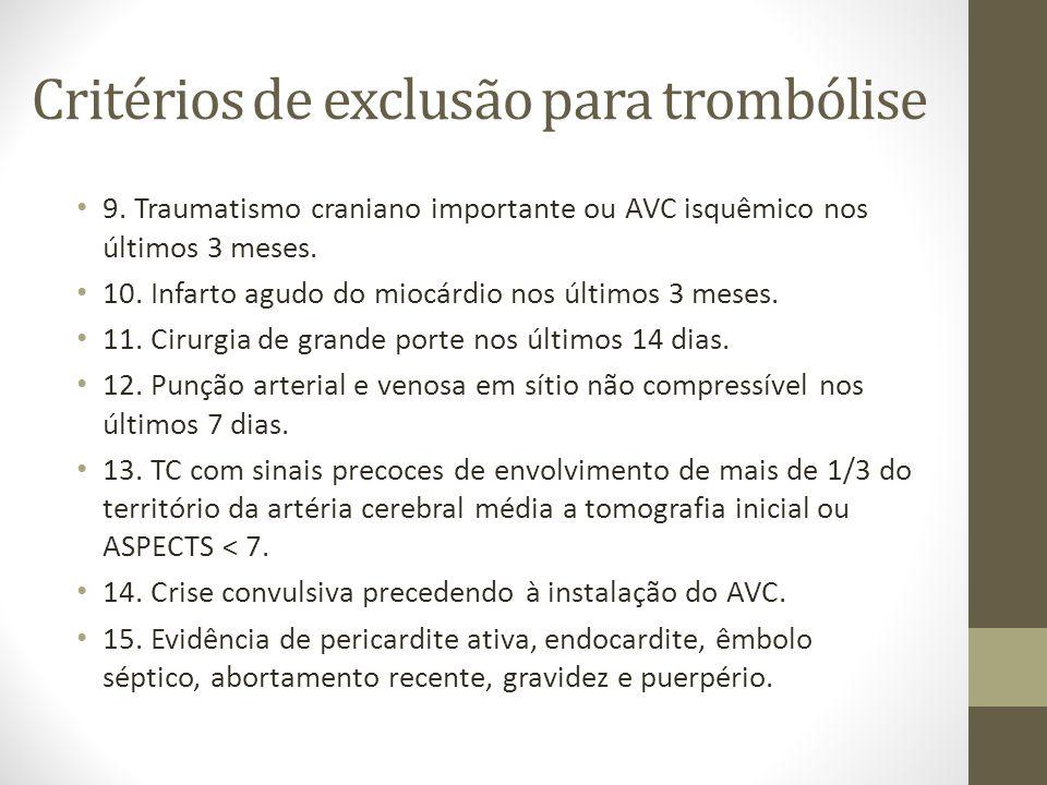 Critérios de exclusão para trombólise • 9. Traumatismo craniano importante ou AVC isquêmico nos últimos 3 meses. • 10. Infarto agudo do miocárdio nos