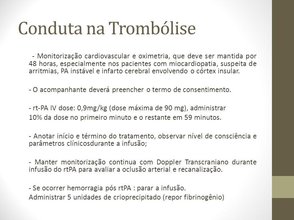 Conduta na Trombólise - Monitorização cardiovascular e oximetria, que deve ser mantida por 48 horas, especialmente nos pacientes com miocardiopatia, s