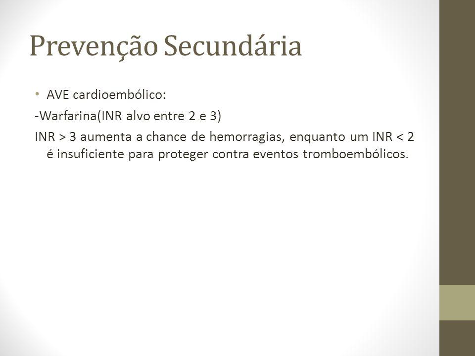 Prevenção Secundária • AVE cardioembólico: -Warfarina(INR alvo entre 2 e 3) INR > 3 aumenta a chance de hemorragias, enquanto um INR < 2 é insuficiente para proteger contra eventos tromboembólicos.