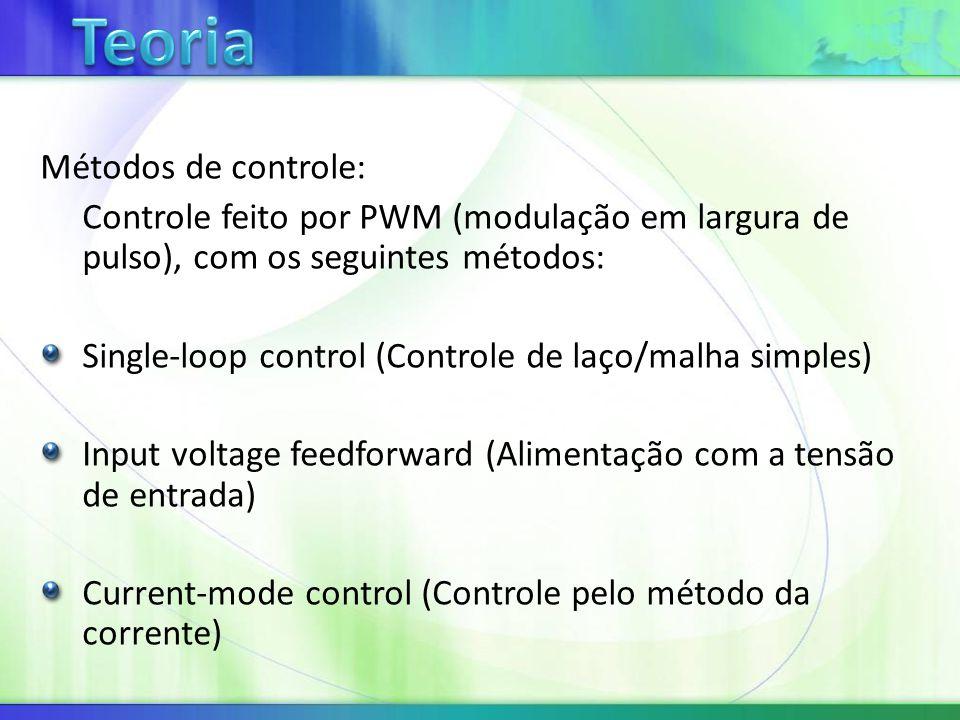 Métodos de controle: Controle feito por PWM (modulação em largura de pulso), com os seguintes métodos: Single-loop control (Controle de laço/malha simples) Input voltage feedforward (Alimentação com a tensão de entrada) Current-mode control (Controle pelo método da corrente)