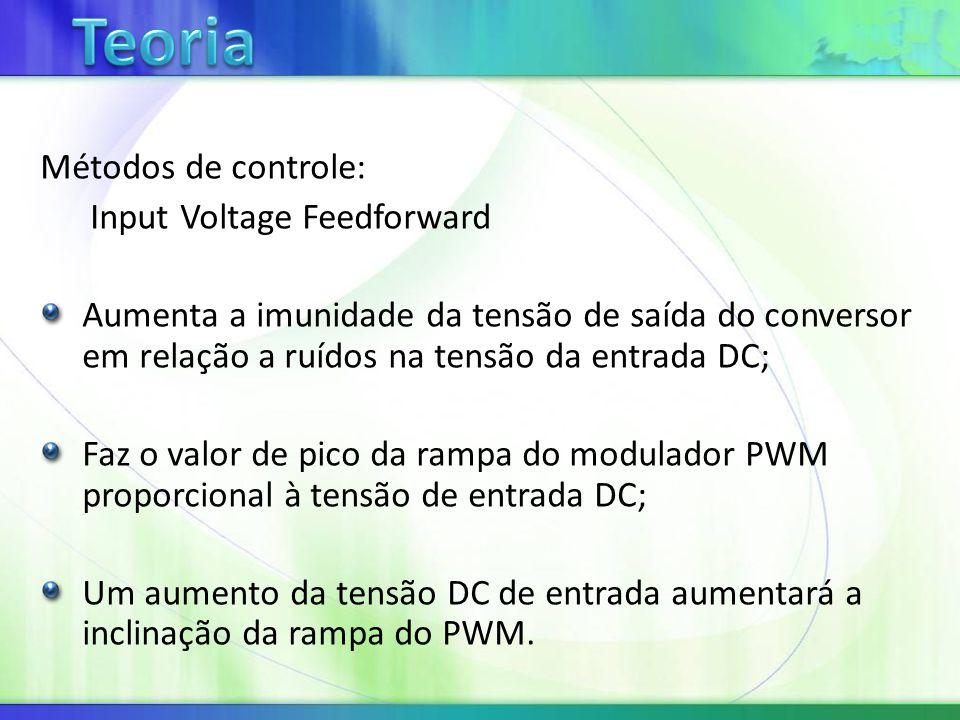 Métodos de controle: Input Voltage Feedforward Aumenta a imunidade da tensão de saída do conversor em relação a ruídos na tensão da entrada DC; Faz o valor de pico da rampa do modulador PWM proporcional à tensão de entrada DC; Um aumento da tensão DC de entrada aumentará a inclinação da rampa do PWM.