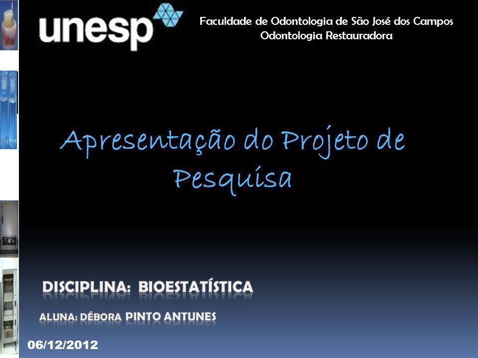 Apresentação do Projeto de Pesquisa Faculdade de Odontologia de São José dos Campos Odontologia Restauradora 06/12/2012