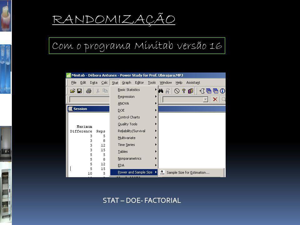 RANDOMIZAÇÃO Com o programa Minitab versão 16 STAT – DOE- FACTORIAL