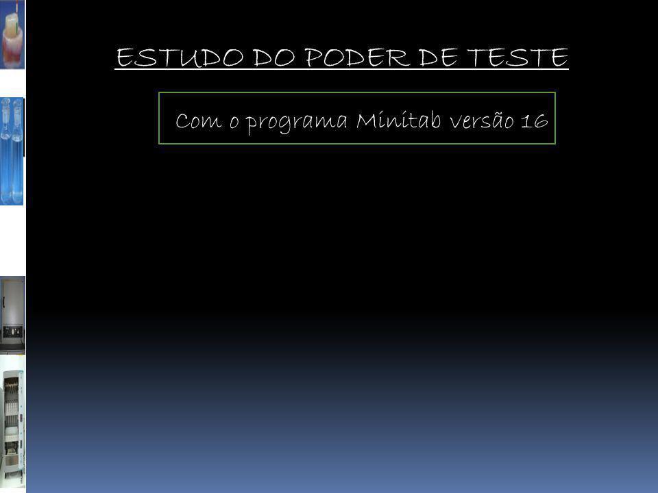 ESTUDO DO PODER DE TESTE Com o programa Minitab versão 16