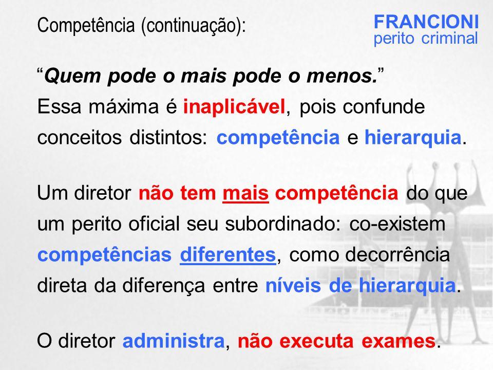 Quem pode o mais pode o menos. Essa máxima é inaplicável, pois confunde conceitos distintos: competência e hierarquia.