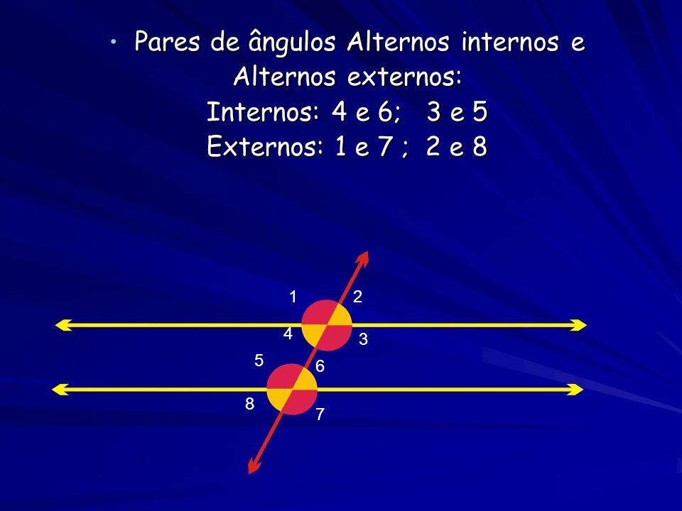 • Pares de ângulos correspondentes: 2 e 6 4 e 8 1 e 5 3 e 7 1 1 2 3 4 56 7 8