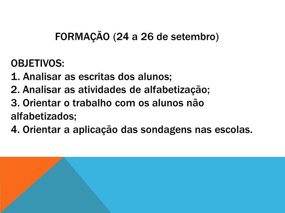FORMAÇÃO (24 a 26 de setembro) OBJETIVOS: 1. Analisar as escritas dos alunos; 2. Analisar as atividades de alfabetização; 3. Orientar o trabalho com o