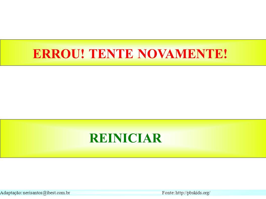 Adaptação: nerisantos@ibest.com.br Fonte: http://pbskids.org/ REINICIAR ERROU! TENTE NOVAMENTE!