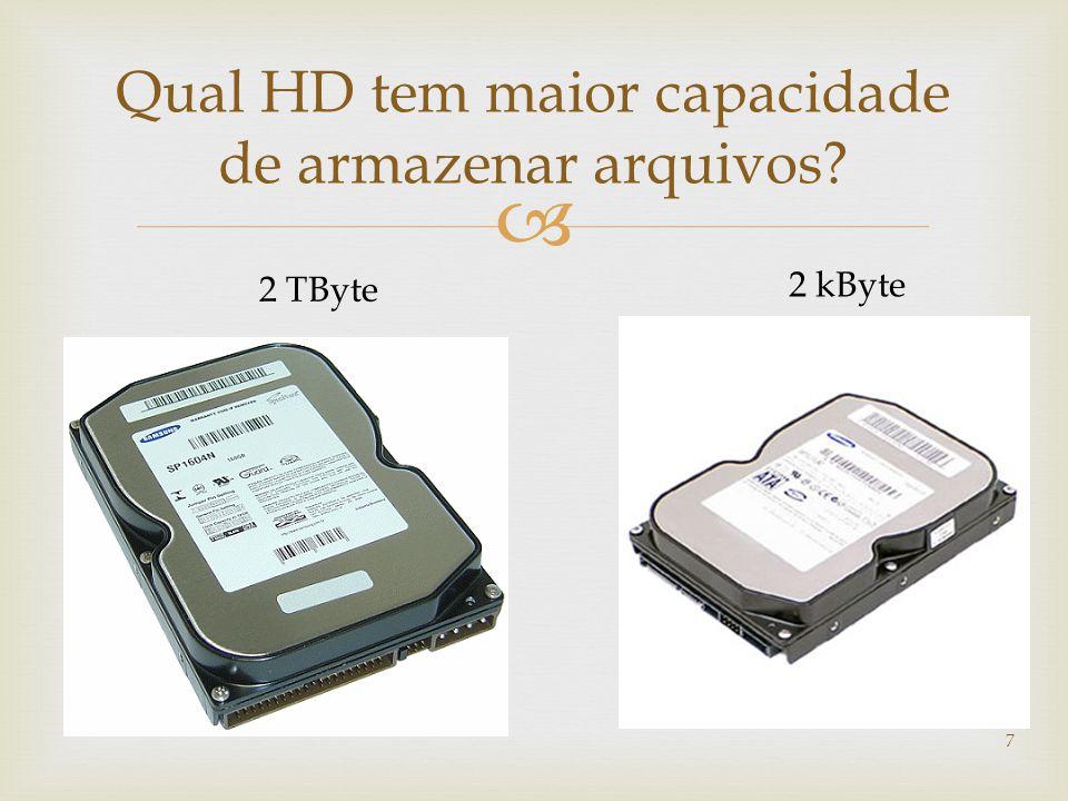  7 Qual HD tem maior capacidade de armazenar arquivos? 2 TByte 2 kByte