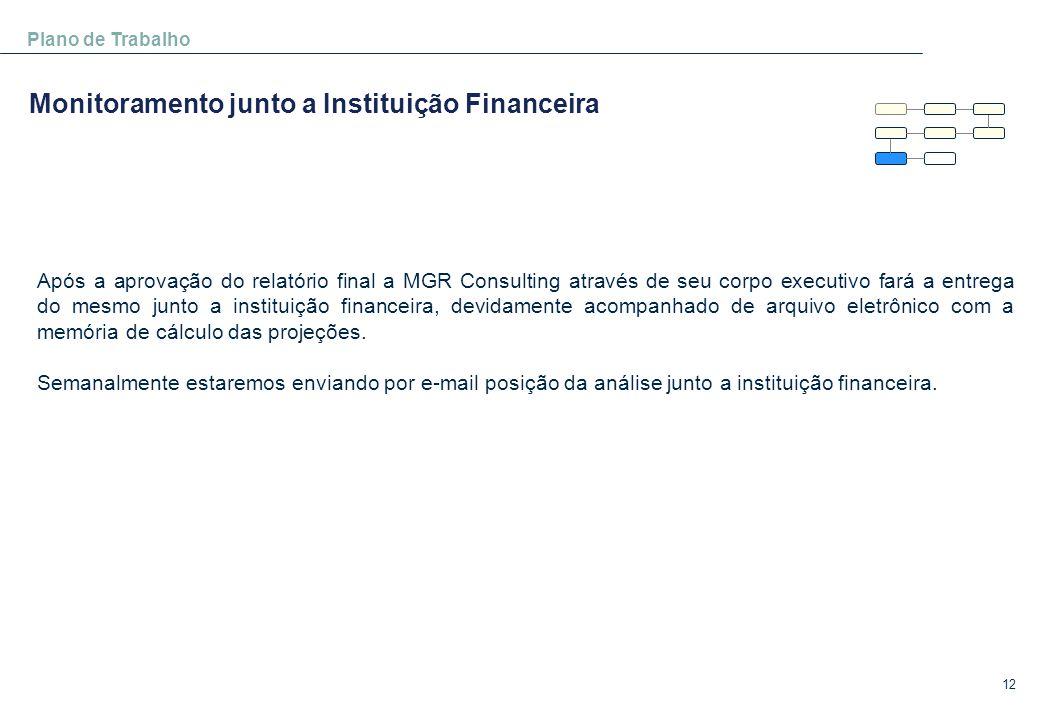 12 Plano de Trabalho Monitoramento junto a Instituição Financeira Após a aprovação do relatório final a MGR Consulting através de seu corpo executivo