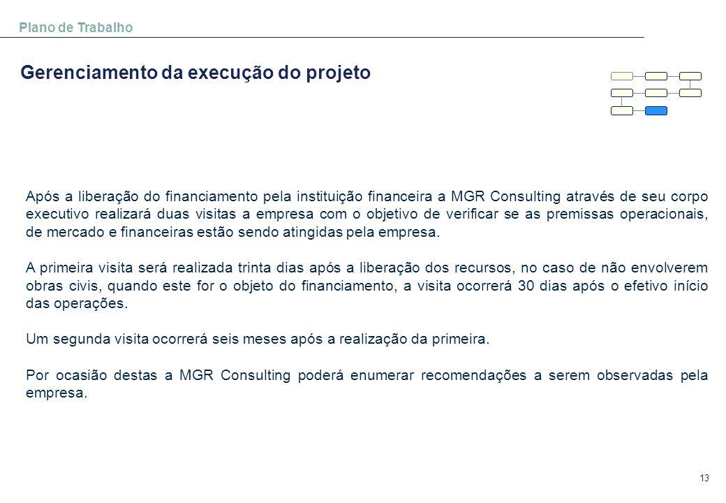 13 Plano de Trabalho Gerenciamento da execução do projeto Após a liberação do financiamento pela instituição financeira a MGR Consulting através de se