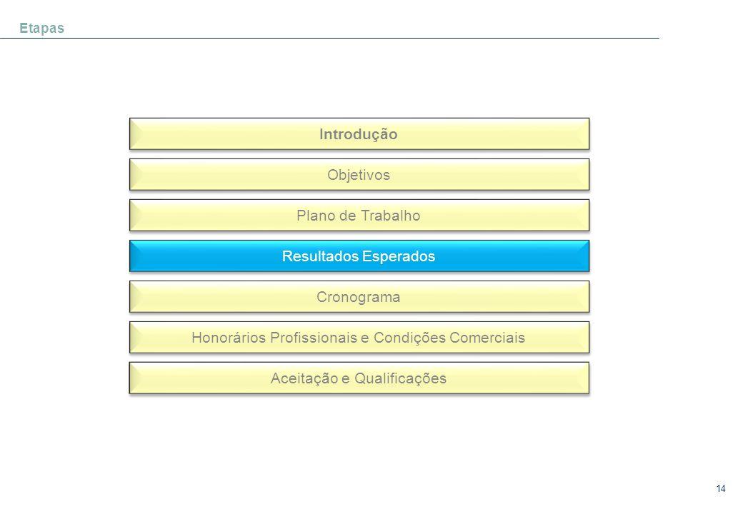 14 Etapas Introdução Objetivos Plano de Trabalho Resultados Esperados Cronograma Honorários Profissionais e Condições Comerciais Aceitação e Qualifica