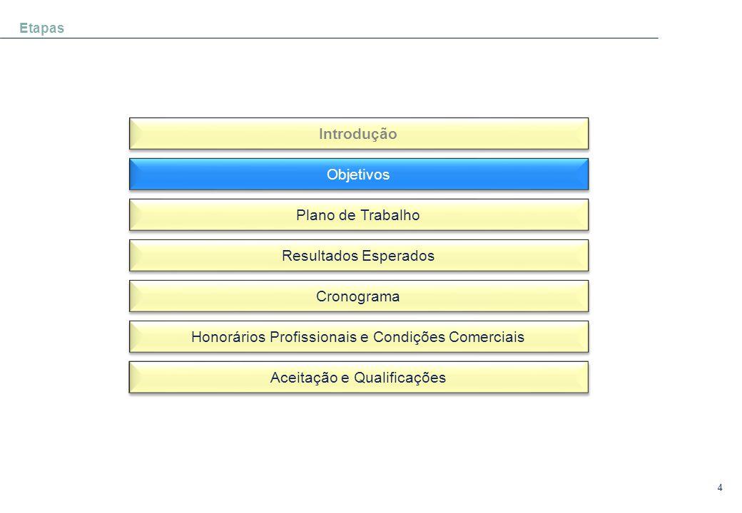 4 Etapas Introdução Objetivos Plano de Trabalho Resultados Esperados Cronograma Honorários Profissionais e Condições Comerciais Aceitação e Qualificaç