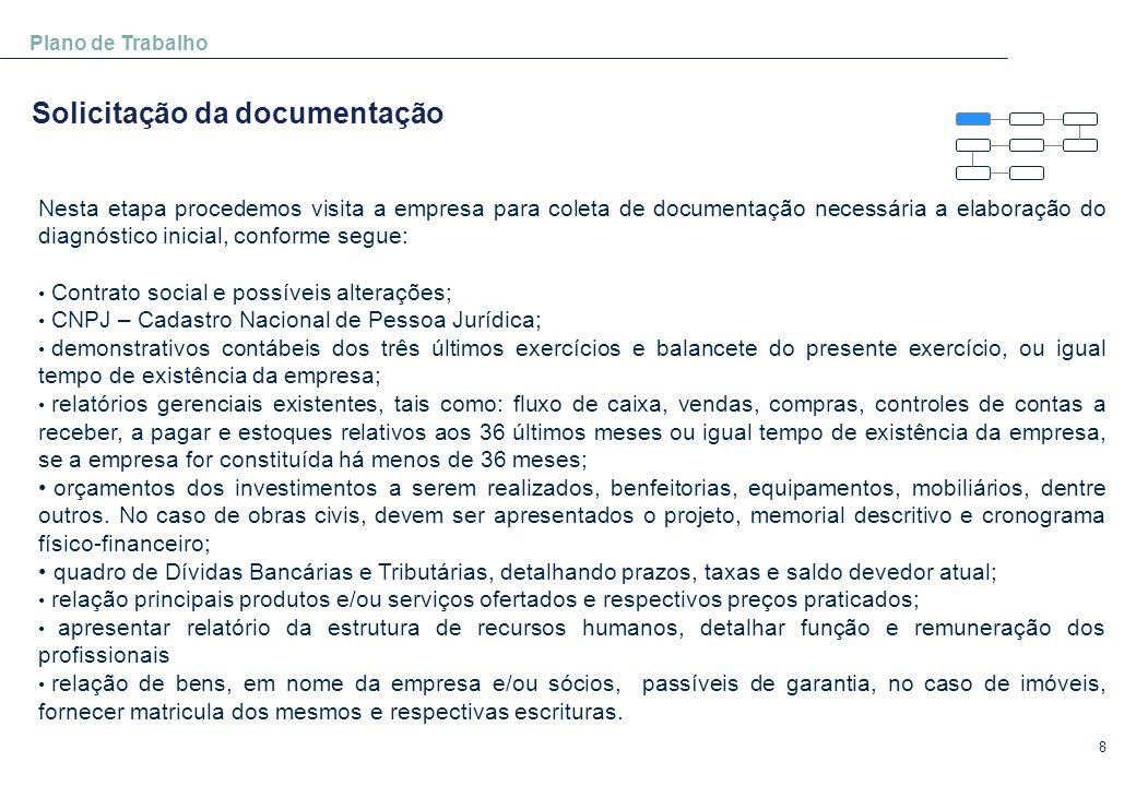 8 Plano de Trabalho Solicitação da documentação Nesta etapa procedemos visita a empresa para coleta de documentação necessária a elaboração do diagnós
