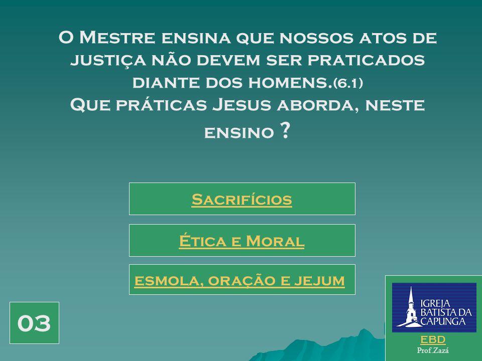 O Mestre ensina que nossos atos de justiça não devem ser praticados diante dos homens.