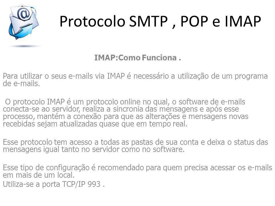 Protocolo SMTP, POP e IMAP IMAP:Como Funciona. Para utilizar o seus e-mails via IMAP é necessário a utilização de um programa de e-mails. O protocolo