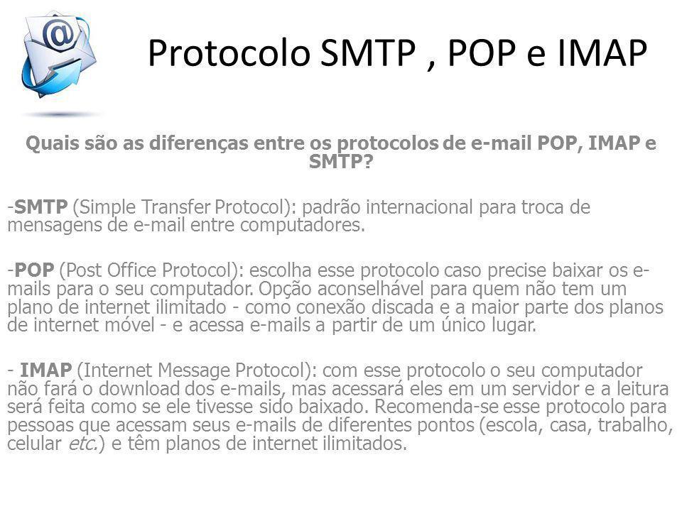 Quais são as diferenças entre os protocolos de e-mail POP, IMAP e SMTP? -SMTP (Simple Transfer Protocol): padrão internacional para troca de mensagens