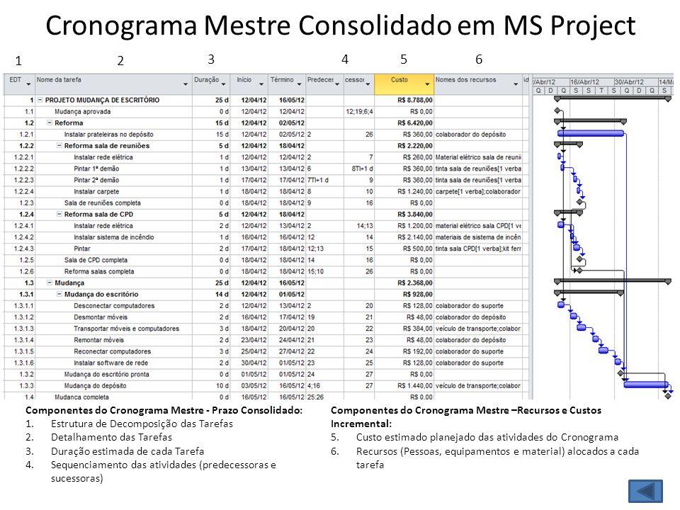 Cronograma Mestre Consolidado em MS Project 12 354 Componentes do Cronograma Mestre - Prazo Consolidado: 1.Estrutura de Decomposição das Tarefas 2.Det
