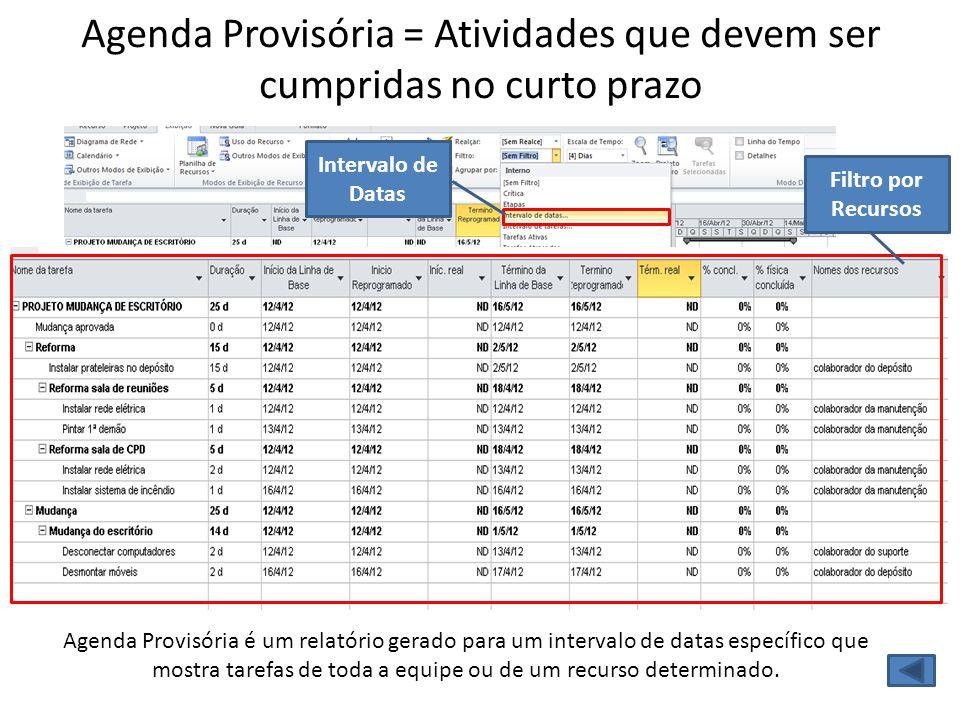Agenda Provisória = Atividades que devem ser cumpridas no curto prazo Agenda Provisória é um relatório gerado para um intervalo de datas específico qu