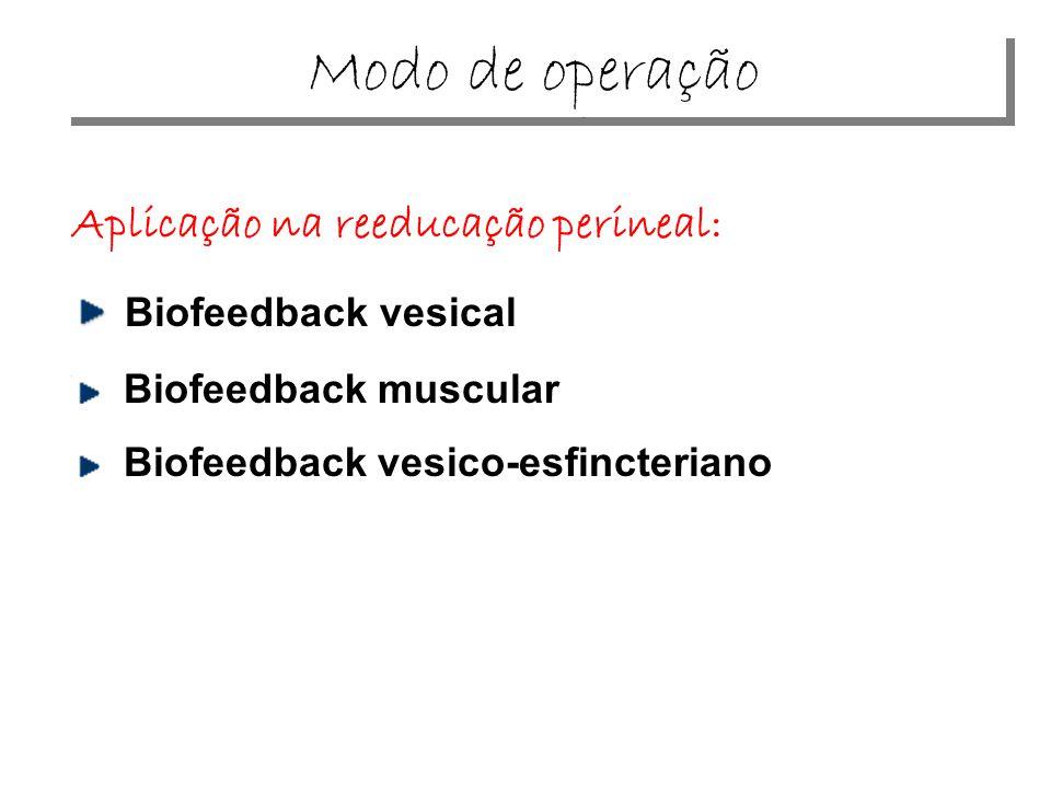 Aplicação na reeducação perineal: Biofeedback vesical Biofeedback muscular Biofeedback vesico-esfincteriano Modo de operação